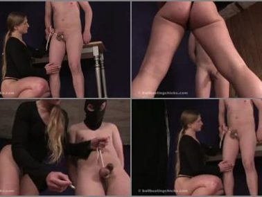 Ball Busting Chicks – Extreme Brutal: Burning his nuts and whipping his cumming boner -  Mistress Isabella