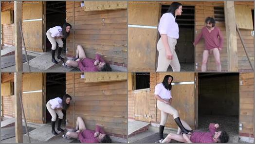 Ball Abuse – Ballbusting World – Busted Stableboy –  The Hunteress