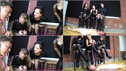 Natalya –  Brat Princess 2 – BP – Black Clad Trio Shares a Boot Licker Before Hunting Rich Men