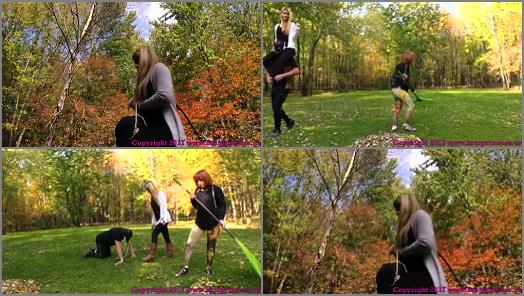 Human Horse –  Brat Princess 2 – Chloe and Lizzy – Pony slave Ridden Around the Grounds while slave girl Does Yard Work