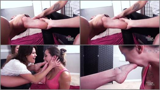 Lesbian Foot Worship – Bratty Foot Girls – Sasha Foxxx, Raquel Roper, Vanessa Rain, Bailey Paige – Triple Sorority Foot gagging Hazing part 1