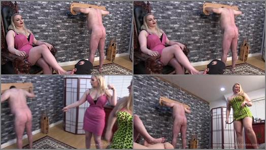 Bondage –  Club Stiletto FemDom – See how Much Fun It Is To Whip Him –  Domina Ruby and Princess Skylar