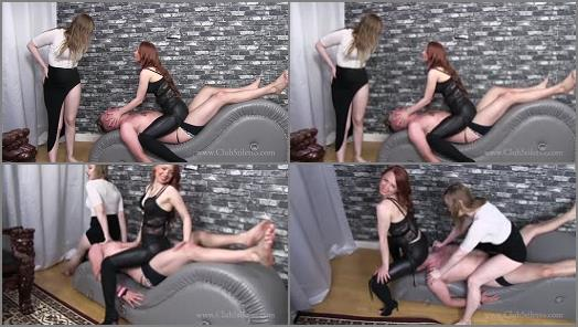 Cruel Facesit – Club Stiletto FemDom – Two Asses Too Many –  Russian Queen M and Princess Mia