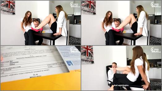 Toes sucking – Czech Soles – Office Foot Worship With Two Foot Goddesses