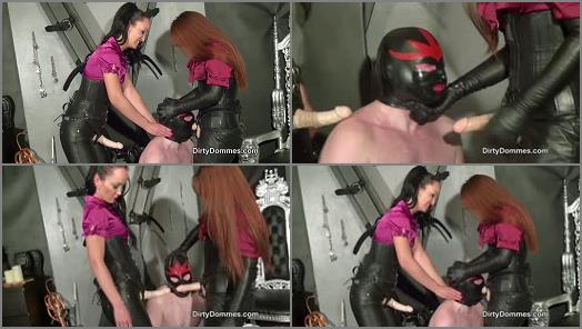 Dildo Sucking -  Dirty Dommes – Double oral assault -  Rebekka Raynor and Fetish Liza