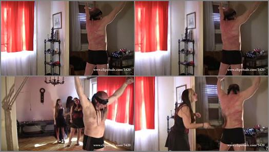 Elegant femdom  c226 hard whipping by three  preview