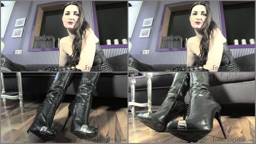 Leather Knee Boots – FemmeFataleFilms – My Smoke Slave – Part 2 –  Lady Victoria Valente