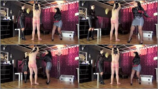 GERMAN FEMDOM Lady Victoria Valente  Double whipping with Ezada Sinn and Lady Victoria Valente preview