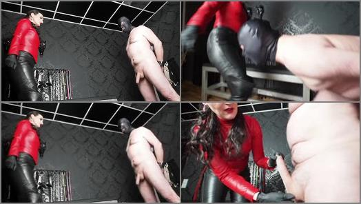 Cock Tease – GERMAN FEMDOM Lady Victoria Valente – Intense CBT and Ballbusting Game with my Made in Leather Outfit