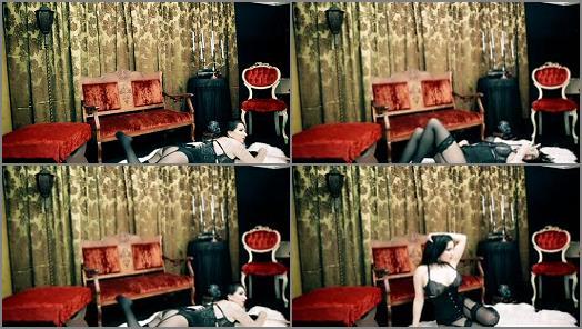 Nylon Clothing – Goddess Alexandra Snow – Black Lingerie on Red Photo Shoot 2