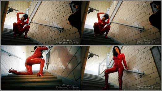 Tease & Denial – Goddess Alexandra Snow – Red Catsuit in Stairwell Photoshoot