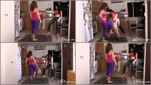 Ballbusting – Goddess Ella Kross – Kicking a Slave`s Balls in with Tessa Ray