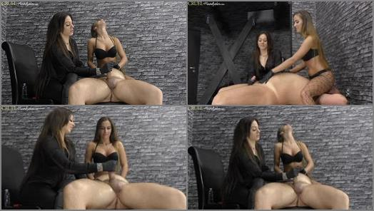 Forced Orgasm –  HANDJOBS MISTRESS – Cleo and Amanda give him a handjob –  Mistress Amanda and Mistress Cleo