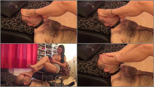 Foot in mouth – Lady Eris Dark – Topless And Denim – Foot Worship, Domination And Facekicking