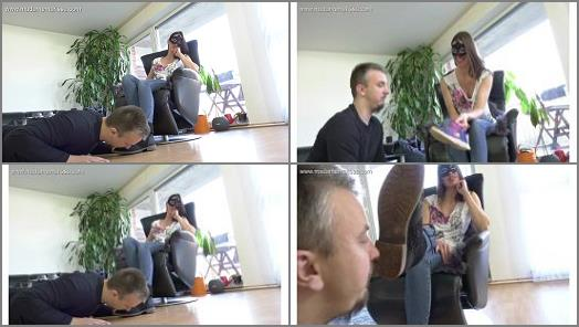 Boots –  Madame Marissa – Slave has to clean my shoes – and the camera girl's shoes
