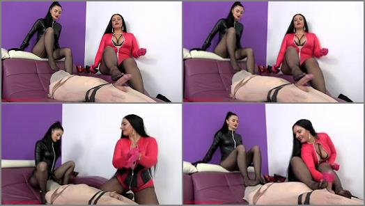 Pantyhose Encasement –  Mistress Ezada Sinn – Only ruined orgasms under Our nylon clad feet –  Goddess Ambra