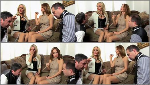 SADO LADIES Femdom Clips  2 ladies 2 butlers 2 human ashtrays   Countess Constance And Lady Dana preview
