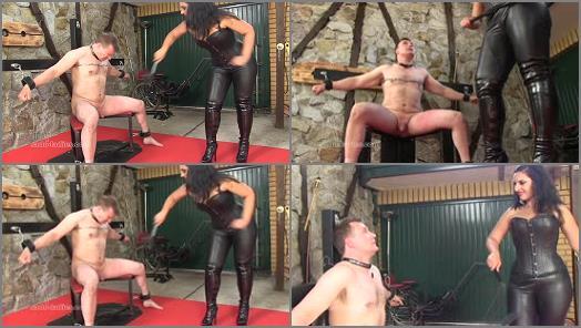 Leather – SADO LADIES Femdom Clips – Merciless Cock Whipping –  Mistress Ezada