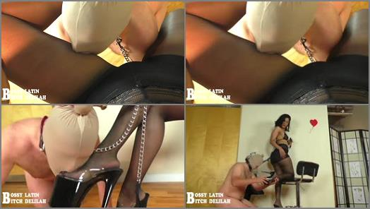 Female Supremacy – SQ Bossy Latin Bitch Delilah – Bossy Delilah: Shiny Pantyhose Worship Beta Tongue Glide