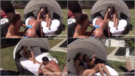 Bikini – THE MEAN GIRLS – Edging His Ass –  Princess Carmela, Princess Bella and  Princess Beverly