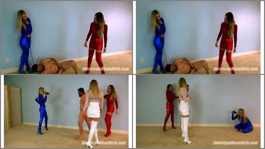 Femdom –  The Mean Girls – American Ballbusting –  Goddess Platinum, Princess Amber and Princess Sklyar
