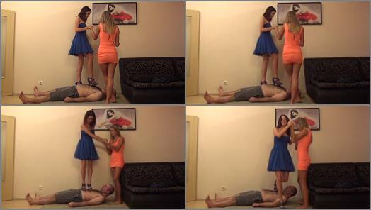 Nylon feet – ARIEL And EMILY – Exam Failed – BRUTAL Trampling In High Heel Sandals