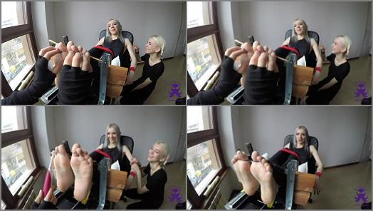 Foot tickling – The Sister – Feet In The Stocks – First Time