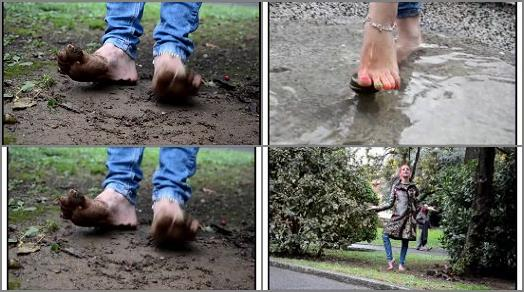 Barefoot Urban Girls  REDX barefoot in mud and icy water preview