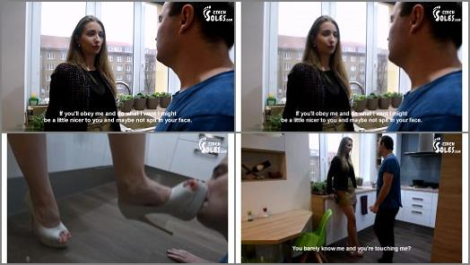 Foot Domination –  Czech Soles – Mean snobby girl – verbal and shoe humiliation spitting on loser – part 1