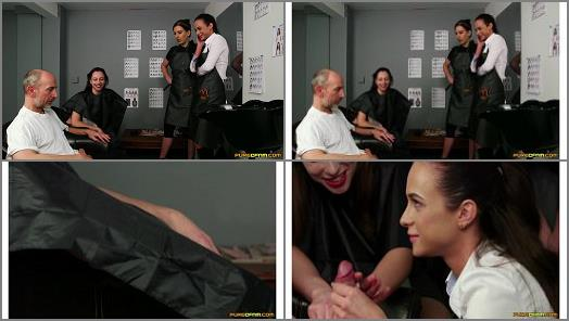 Triple Domination –  PureCFNM – Hairdresser's Gown –  Abigail Angel, Tindra Frost and Vinna Reed