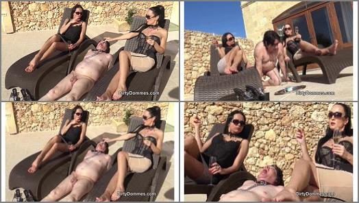 Dirty Dommes  Outdoor ashtray for two Goddesses   Amanda Black and Fetish Liza  preview