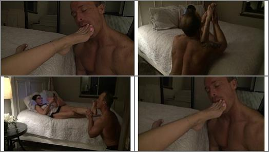 Foot Licking –  Goddess Zephy – Lick My Feet while I relax in bed