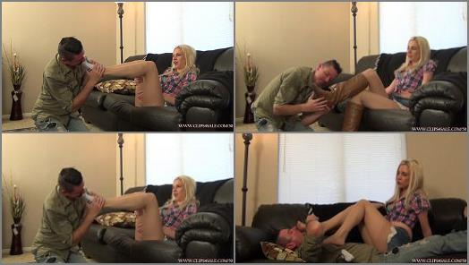 Blond Hair – EXTREME FEET CLIPS – Cowgirl Foot Worship Punishment