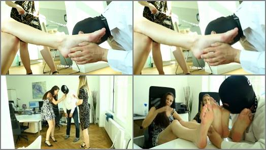 High Heels –  Czech Soles – Office foot slave for two sexy colleagues