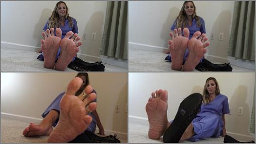 Kinky Foot Girl  4k Home From 12 Hour Shift Still Wearing my Scrubs SMELL MY FEET preview