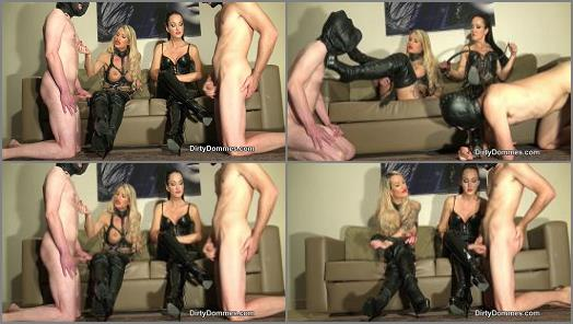 Cum Eating –  Dirty Dommes – Boot cum competition part 2 –  Fetish Liza