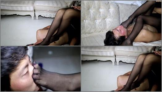 Sole Licking –  Chinese goddess ICE ERA – Goddess Angel black nylon foot abusing YCAQ SFD 04