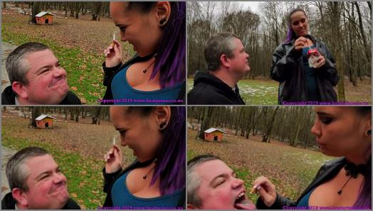 Human Ashtray –  Brat Princess 2 – Natalya – Fart and Ashtray Slave Used Outside