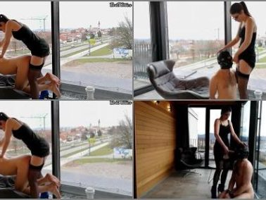 Female Domination -  Evil Kitties – Hotel balcony public femdom pegging and chastised man slut humiliation EvilKitties