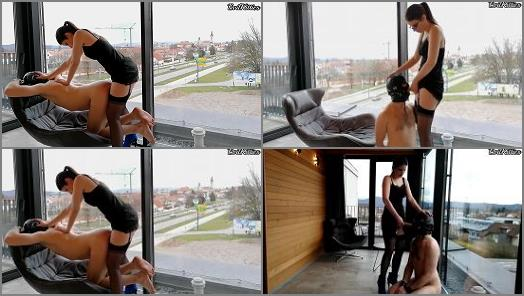Female Domination –  Evil Kitties – Hotel balcony public femdom pegging and chastised man slut humiliation EvilKitties