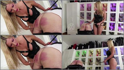 Classic Caning –  Mistress Nikki Whiplash – Strapped down, 64-stroke cold caning WL1473
