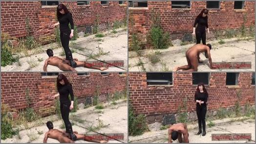 Goddess Rebekka Raynor outdoor trampling domination to slave