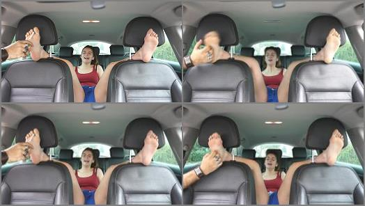 Tickling torture – French Tickling – Lisabeth's Ruthless Bare Feet Tickling In The Car