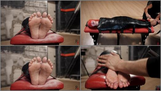 Ticklish girl - Russian Fetish - A difficult challenge for Leya - Tight PVC mummification and intensive foot tickling