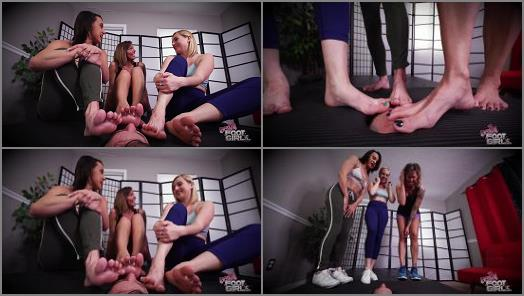 Foot Fetish – Bratty Foot Girls – Triple Facebox Foot Domination –  Mikayla Miles, Kate England and Maria Jade