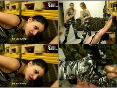 Hard - Czech Soles – Slave Market – Brutal Beating And Humiliation By 3 Army Girls