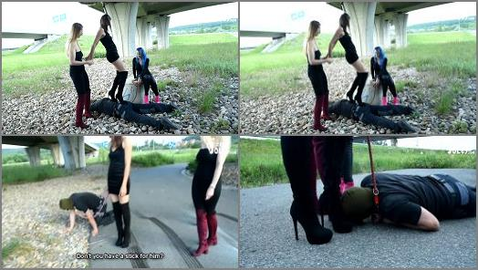 Czech Soles  Walking a foot slave dog out with her 2 friends  preview