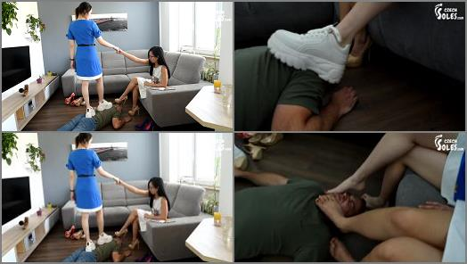 Footdom – Czech Soles – Two Asian cuties enjoying findom and foot humiliation of a robber