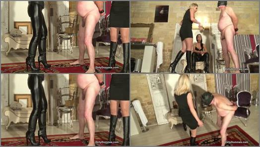 Fetish Liza and Miss Sarah in video Ballbusting wimp  Part 1 of Dirty Dommes studio  preview