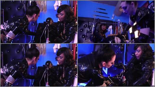 Spitting – Cybill Troy and Ariana Chevalier starring in video 'INVASIVE RUBBER CLINIC (PT 1: Forced Electro Cum)' of 'Cybill Troy FemDom Anti-Sex League' studio
